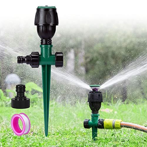 Hotelvs Lawn Sprinkler, Garden Water Sprinklers Round Spray Sprinkler Automatic 360 Rotating Spike Base Water Sprinklers Lawn Irrigation System for Outdoor Garden Yard Lawn Watering