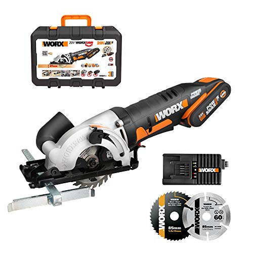WORX 20V Cordless Circular Saw WX527.1, PowerShare, 2.0Ah, Parallel Guide, TCT 24T Blade, Blade 85mm, Maximum Cutting Capacity 27mm, 1H Quick Charger