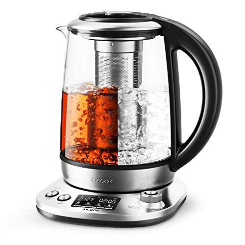 Aicook Z1 Electric Kettle 1.7L Stainless Steel Glass Tea Kettle, Intelligent Tea Maker with LCD Display, 120 Mins Keep Warm & Variable Temperature, Auto Shut off & Boil Dry Protection, BPA free, 2200W