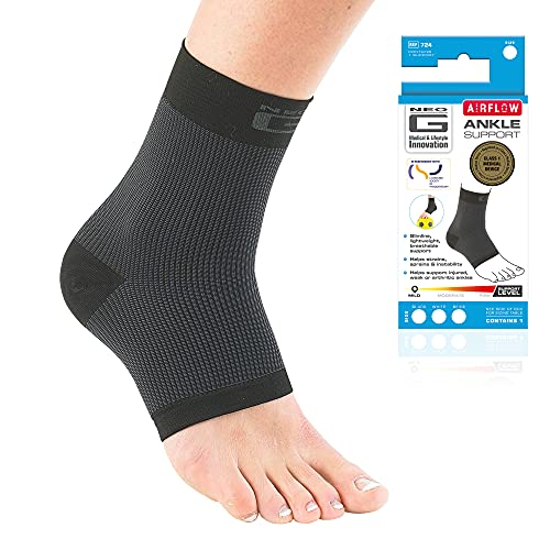 Neo G Ankle Support Running, Sports, Daily Wear - Ankle Brace, Achilles Tendonitis Support, Sprained Ankle Supports for Weak Ankles and Joint Pain. Multi Zone Ankle Compression - Airflow - M – Black