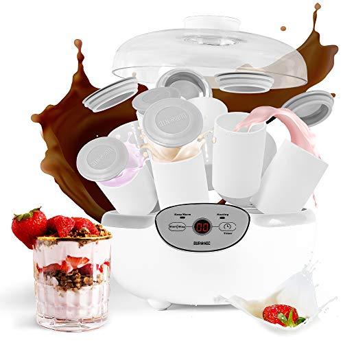 Duronic Yoghurt Maker YM2 | Yogurt Machine with 8 Ceramic Pots | Digital Display | Timer Function | 20W | Make Fresh Homemade Bio-Active Yoghurt in Your Own Kitchen