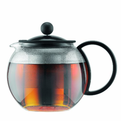 Bodum 1812-01 ASSAM Tea Maker (French Press System, Permanent Stainless Steel Filter, 0.5 L/17 oz) - Black/Transparent
