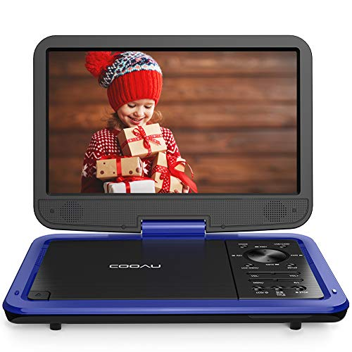 COOAU 12.5' Portable DVD Player with 10.5'' High-Brightness Swivel Screen, Supports All Region, AV-in/AV-out/SD/USB/CD/DVD, 5-Hours Rechargeable Battery, Remote Controller (Blue)