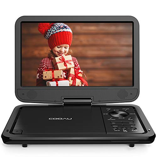 """COOAU 12.5"""" Portable DVD Player with 10.5'' High-Brightness Swivel Screen, Supports All Region, AV-in/AV-out/SD/USB/CD/DVD, 5-Hours Rechargeable Battery, Remote Controller (Black)"""