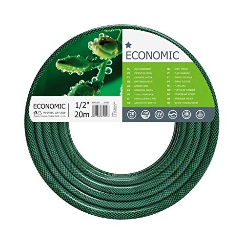 Cellfast Garden Hose ECONOMIC 1/2' 20 m, Flexible and Three-layer Hose, Resistance to UV, Internal Part Resistant to Algae, 10-001
