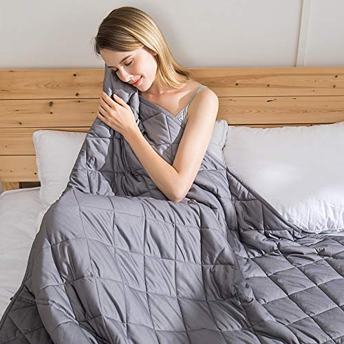 jaymag Weighted Blanket for Adults 9kg 150x200cm Heavy Blanket for Autism, Insomnia and Stress Relief Sensory Calming Anti Anxiety Blanket,100% Cotton Fabric, Grey