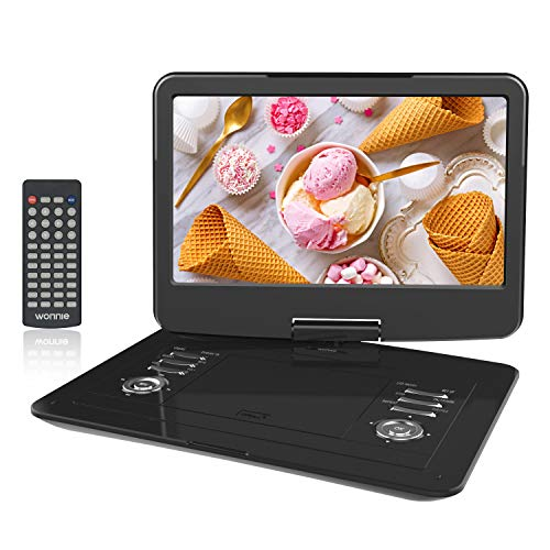 WONNIE 15.5 inch Portable DVD Player with 270 Swivel Screen, Built-in 6 hours Rechargeable Battery, Stereo Sound, Region Free,Support USB/SD/AV Out & IN