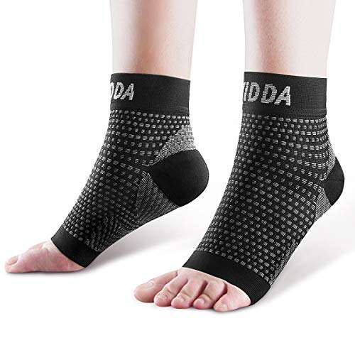 AVIDDA Plantar Fasciitis Socks 1 PAIR, Compression Foot Sleeves for Sport Arthritis Pain Relief, Ankle Support Brace for Men and Women Black L