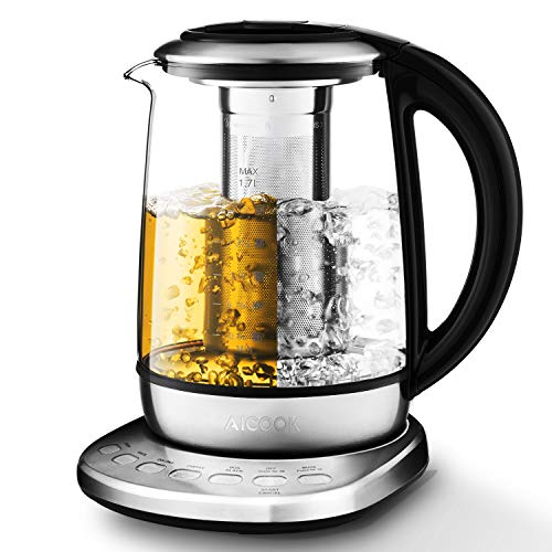 Aicook Electric Kettle 1.7L Glass Tea Kettle with 5 Temperature Presets, One Touch Tea Maker, 100% Stainless Steel Inner Lid, Tea Infuser & Bottom, Auto Shut Off & Boil Dry Protection, BPA Free