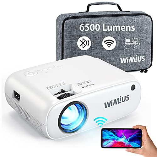 WiMiUS WiFi Bluetooth Projector 6500 Lumen, 2021 Professional Portable Projector Full HD 1080P Supported, Wireless Mirroring 250' Projector for iOS/Android/TV Stick/HDMI/USB [Bag Included]