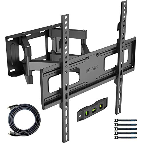 BONTEC TV Wall Mount for 23-60 Inch LED LCD Flat & Curved TVs, Swivels Tilts Extends Double Arm Full Motion TV Wall Bracket Holds up to 45kg, Includes HDMI Cable, Spirit Level, Max VESA 400x400mm