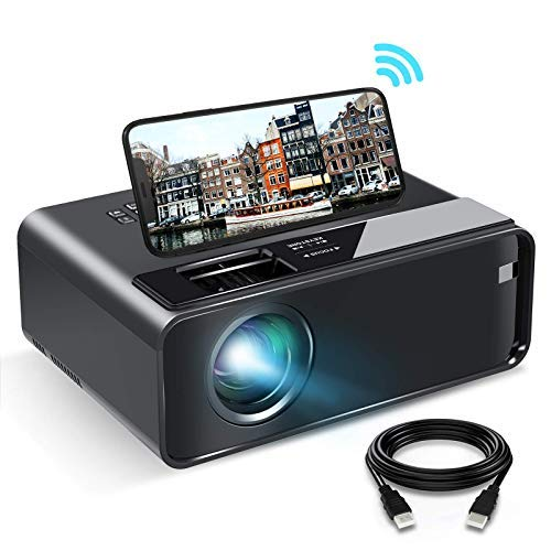 WiFi Projector, ELEPHAS 2021 WiFi Mini Projector with Synchronize Smartphone Screen, 1080P HD Portable Projector with 6500 Lux and 200' Display, Compatible with Android/iOS