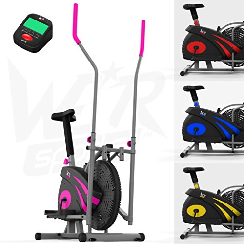 We R Sports 2-IN-1 Elliptical Cross Trainer & Exercise Bike Home Fitness Cardio Workout Machine (Pink)