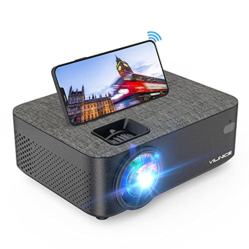 Projector, Vili Nice 6000 Lux WiFi Projector, Bluetooth Mini Projector with Synchronize Smartphone Screen, Supports 1080P HD 240'Display, Compatible with Laptop, TV Stick, HDMI, VGA, USB, DVD, PS4