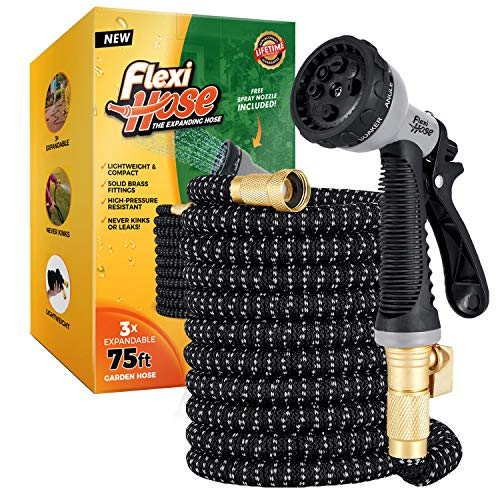 Flexi Hose Upgraded Expandable Garden Hose, Extra Strength, 3/4' Solid Brass Fittings - The Ultimate No-Kink Flexible Water Hose, 8 Function Spray Included (75 FT, Gray/Black)
