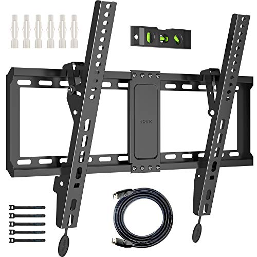 BONTEC TV Wall Mount for Most 37-70 Inch LED LCD Plasma Flat Curved TVs, Tilt TV Wall Bracket with Max. VESA 600x400mm, Up to 60kg, Bubble Level, 1.8m HDMI Cable and Cable Ties included