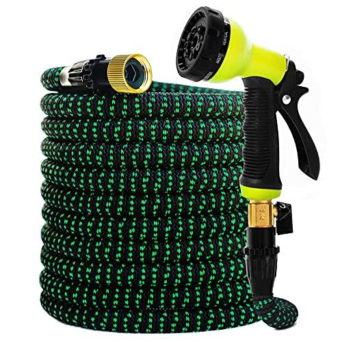 Garden Hose Expandable Hose - Heavy Duty Flexible Leakproof Hose-10-Pattern High-Pressure Water Spray Nozzle & Bag & Plastic Holder.No Kink Tangle-Free Pocket Water Hose