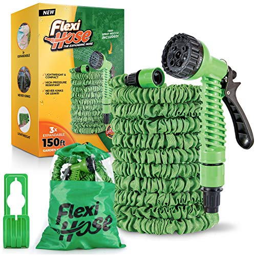 Flexi Hose 150 Foot Expandable Garden Hose with 7 Function Spray Nozzle - Durable ABS Fittings for Leak-Proof and Kink-Free Garden Hose - Extra-Strength, Flexible, Lightweight