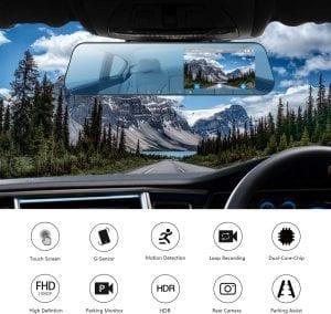 DuDuBell 4.3 inch Mirror Dash Cam