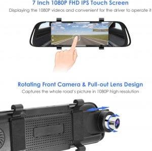KAMEP Mirror Dash Cam 7 Inch