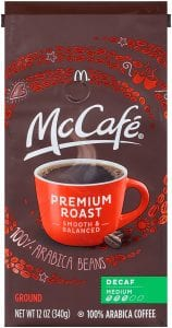 McCafe Premium Roast Decaf Medium Ground McDonalds Coffee