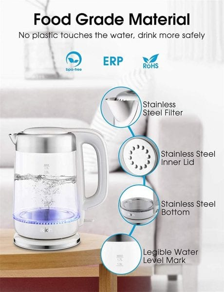 iKich Eco Glass Electric Energy Efficient Kettle